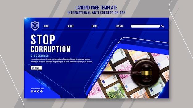 Modèle de page de destination de la journée anti-corruption
