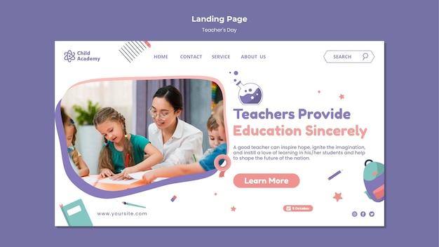 Modèle de page de destination de la journée de l'enseignant
