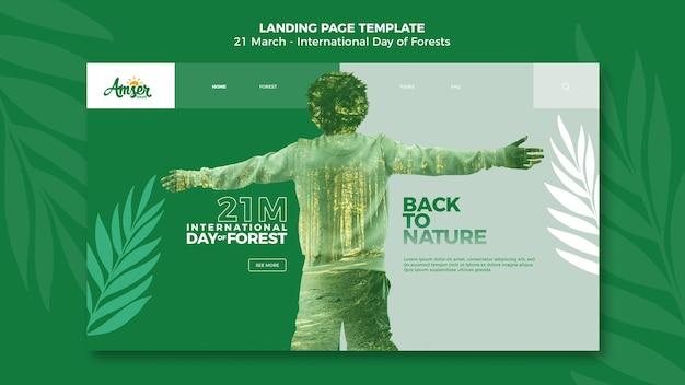 Modèle de page de destination de la journée des forêts avec photo