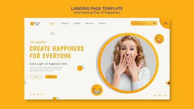Modèle de page de destination de la journée internationale du bonheur