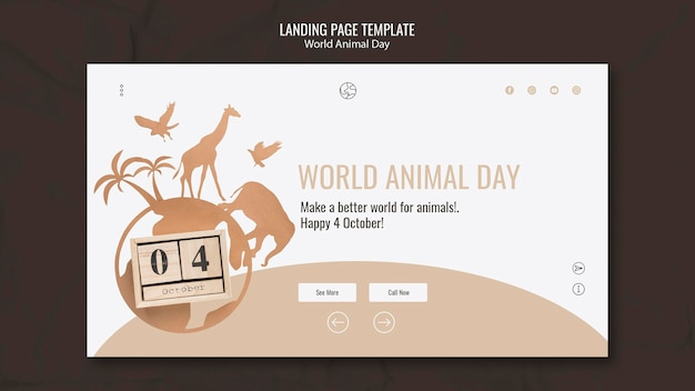 Modèle de page de destination de la journée mondiale des animaux