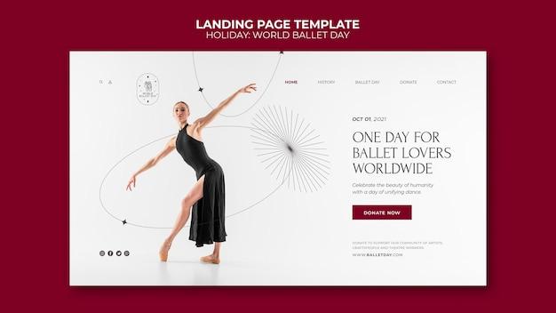 Modèle de page de destination de la journée mondiale du ballet
