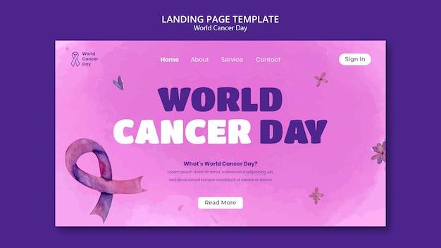 Modèle de page de destination de la journée mondiale du cancer avec ruban