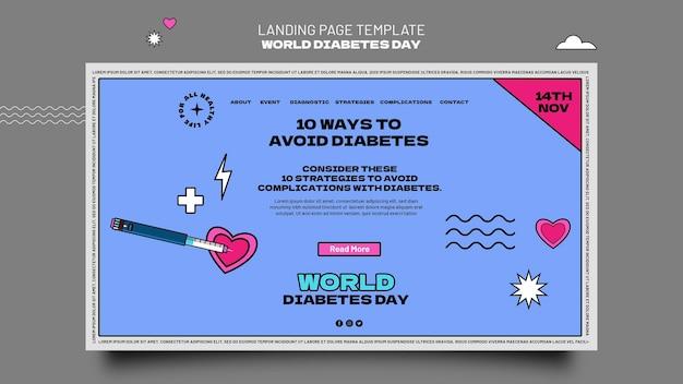 Modèle de page de destination de la journée mondiale du diabète créative