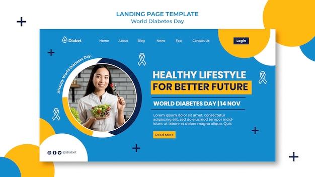 Modèle de page de destination de la journée mondiale du diabète
