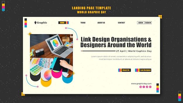 Modèle de page de destination de la journée mondiale du graphisme
