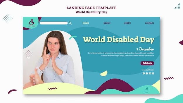 Modèle de page de destination de la journée mondiale du handicap