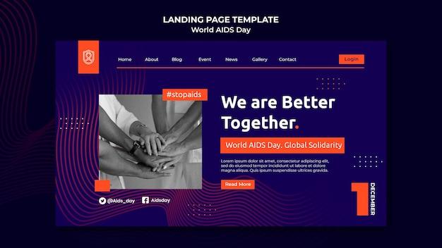 Modèle de page de destination de la journée mondiale du sida avec des détails orange