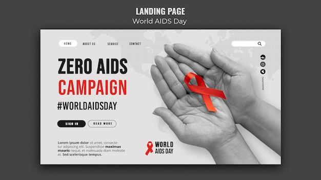 Modèle de page de destination de la journée mondiale du sida avec ruban rouge