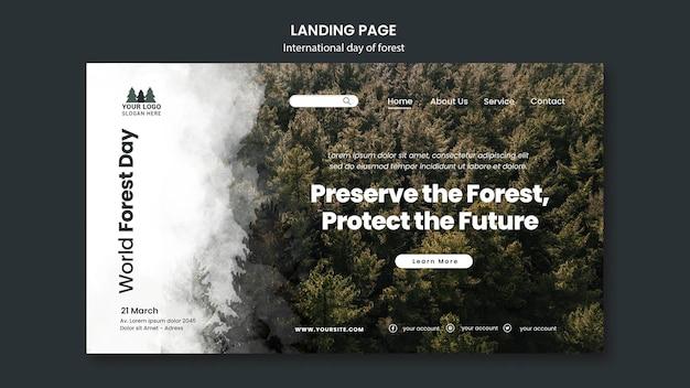 Modèle de page de destination de la journée mondiale de la forêt