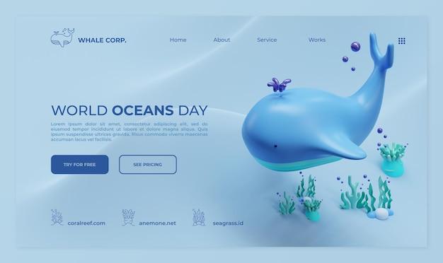 Modèle de page de destination de la journée mondiale des océans avec illustration de rendu 3d de baleine