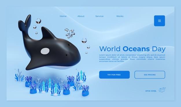 Modèle de page de destination de la journée mondiale des océans avec illustration de rendu 3d orca