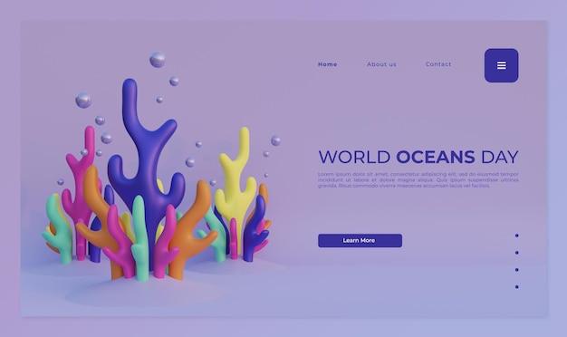 Modèle de page de destination de la journée mondiale des océans avec illustration de rendu 3d des récifs coralliens