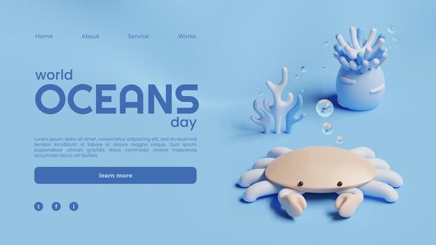 Modèle de page de destination de la journée mondiale des océans avec rendu 3d de crabe