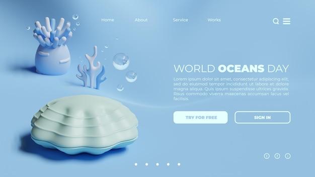 Modèle de page de destination de la journée mondiale des océans avec rendu 3d de palourdes