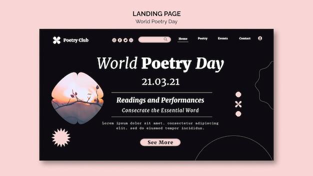 Modèle de page de destination de la journée mondiale de la poésie