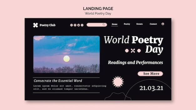 Modèle De Page De Destination De La Journée Mondiale De La Poésie Psd gratuit