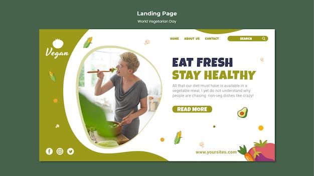 Modèle De Page De Destination De La Journée Mondiale Des Végétariens Psd gratuit