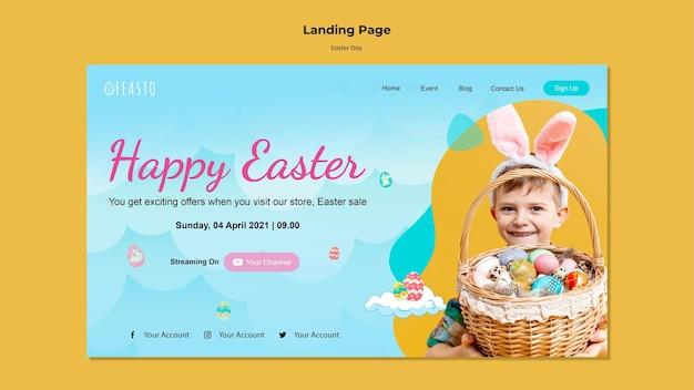 Modèle de page de destination de joyeuses pâques