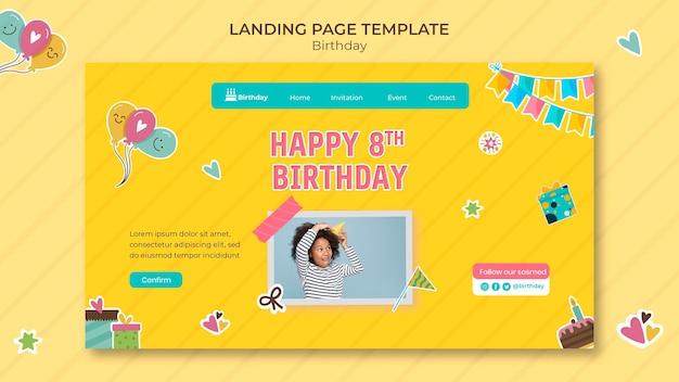 Modèle de page de destination joyeux anniversaire