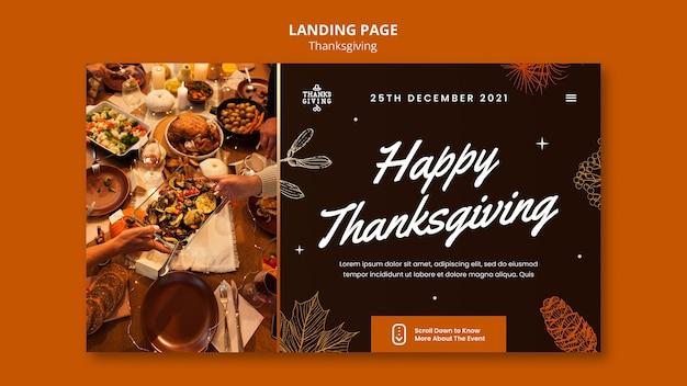 Modèle de page de destination de joyeux thanksgiving