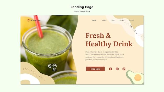 Modèle de page de destination de jus de fruits