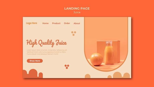 Modèle de page de destination de jus d'orange