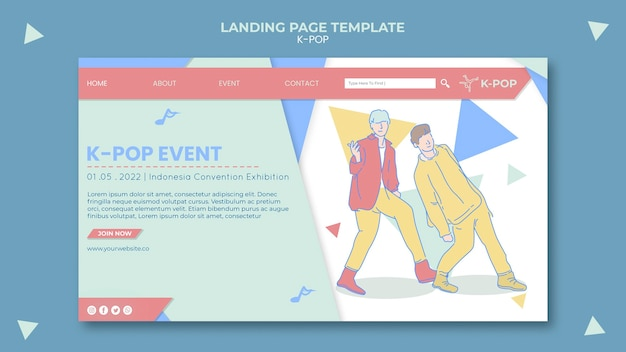 Modèle de page de destination k-pop illustré