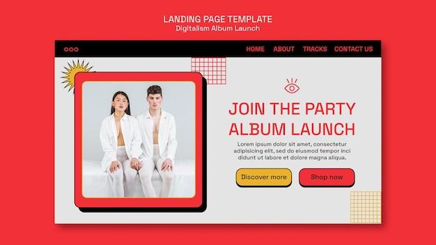 Modèle de page de destination de lancement d'album de digitalisme