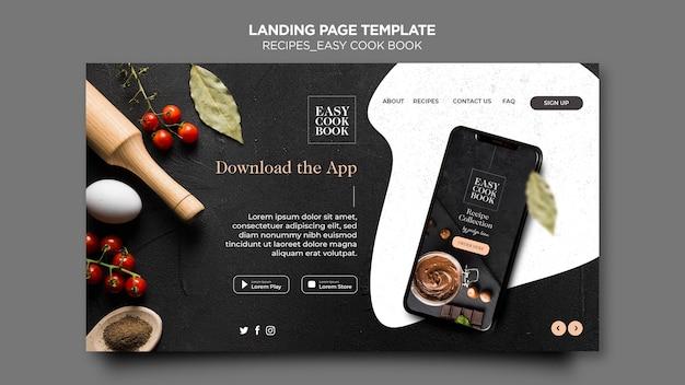 Modèle de page de destination de livre de cuisine