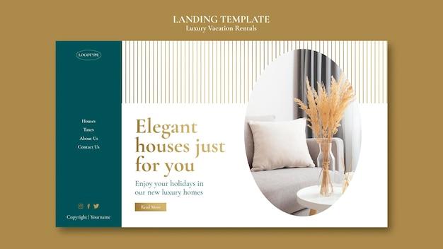 Modèle de page de destination de location de vacances de luxe