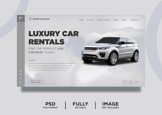 Modèle de page de destination de location de voiture de couleur grise
