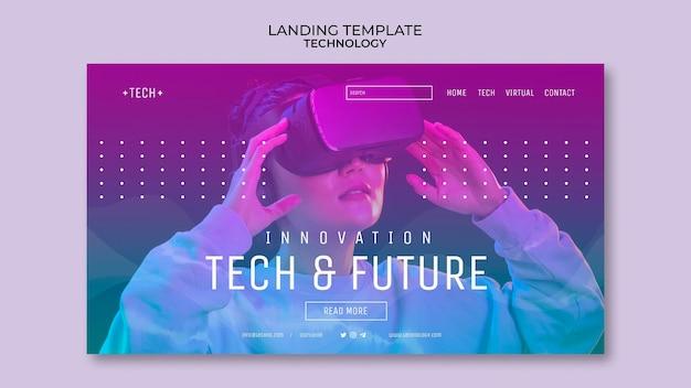 Modèle de page de destination de lunettes de réalité virtuelle