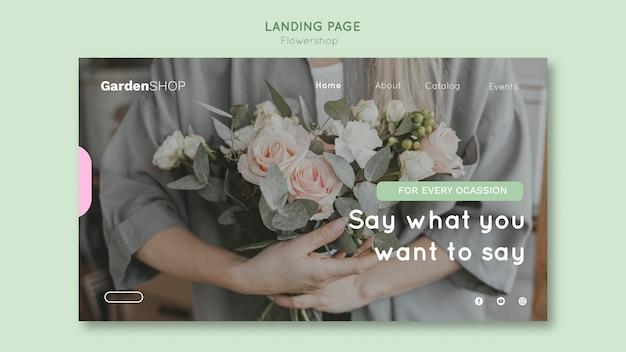 Modèle de page de destination de magasin de fleurs