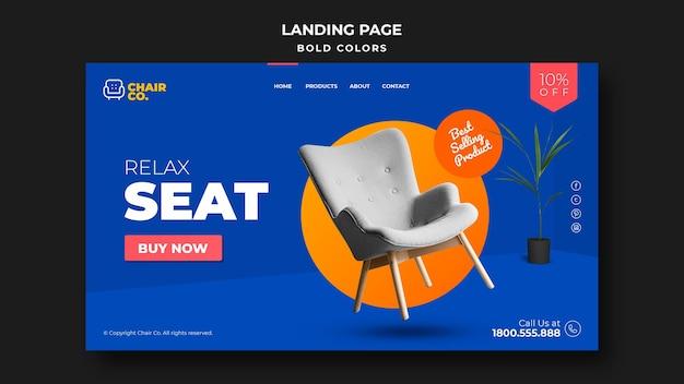 Modèle de page de destination de magasin de meubles