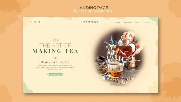 Modèle de page de destination de maison de thé