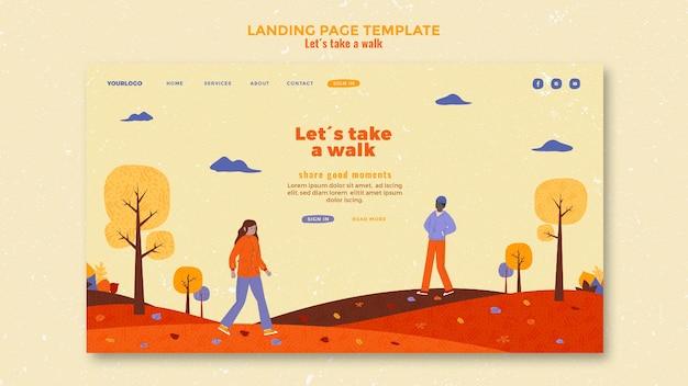 Modèle de page de destination marchez dans la nature