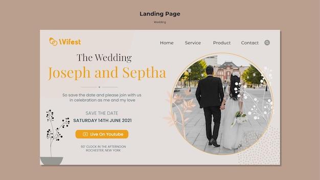 Modèle de page de destination de mariage élégant