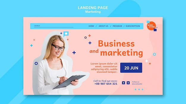 Modèle de page de destination marketing avec photo