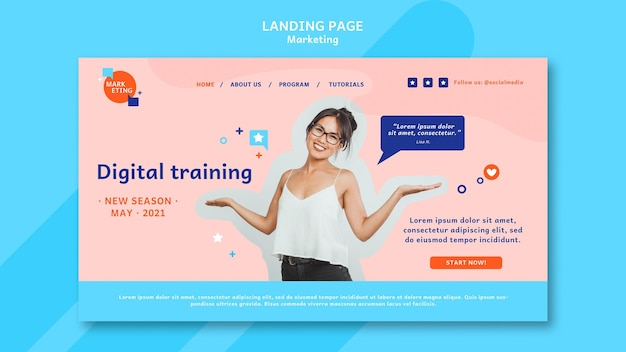 Modèle De Page De Destination Marketing Avec Photo Psd gratuit