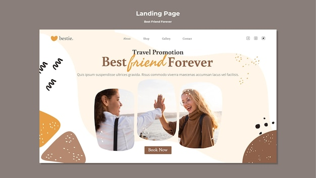 Modèle de page de destination meilleurs amis pour toujours