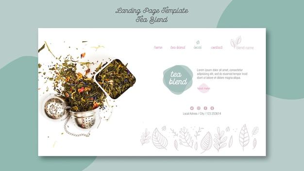 Modèle de page de destination de mélange de thé