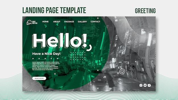 Modèle de page de destination de message hello