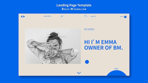 Modèle de page de destination minimaliste audacieux
