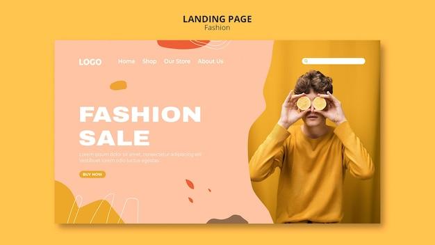 Modèle de page de destination de mode masculine de vente