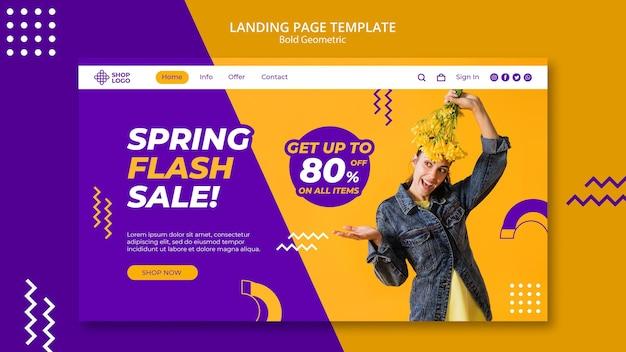 Modèle de page de destination de modèle géométrique audacieux de vente de printemps