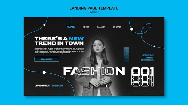 Modèle De Page De Destination Monochromatique Pour Les Tendances De La Mode Avec Femme PSD Premium