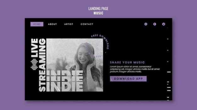 Modèle de page de destination musicale avec photo