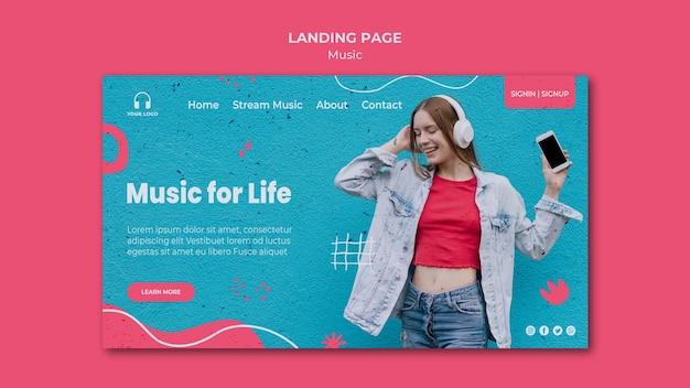 Modèle de page de destination musicale