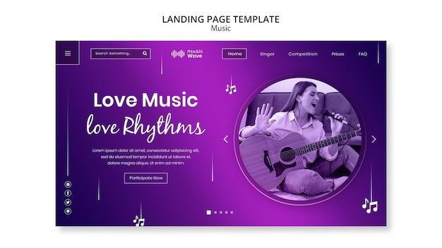 Modèle de page de destination de la musique d'amour